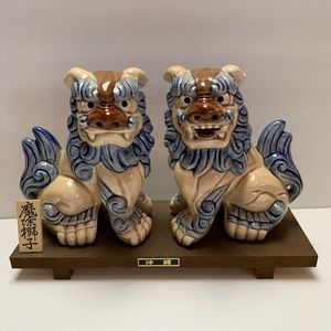 Other - Foo Dogs Blue and Cream Porcelain